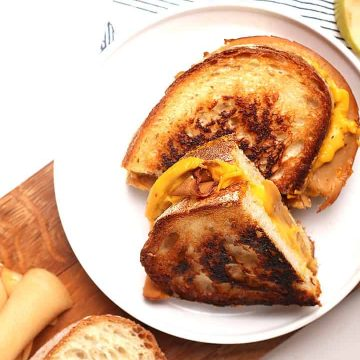 Vegan grilled ham and cheese sandwich