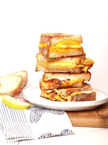 Stack of vegan grilled cheese