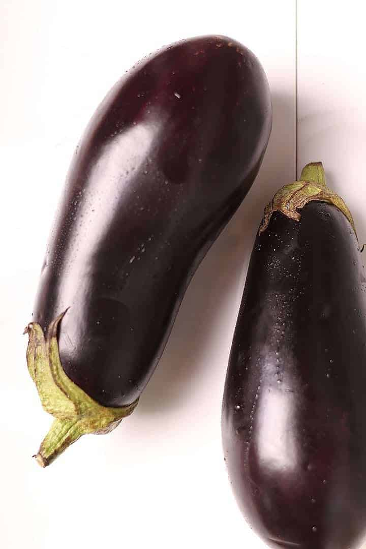 2 Eggplants on white background