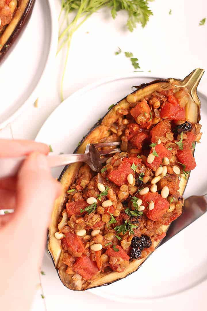Moroccan Stuffed Eggplant with fork
