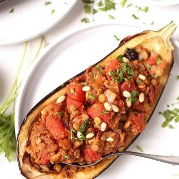 Moroccan Stuffed Eggplant on white plate