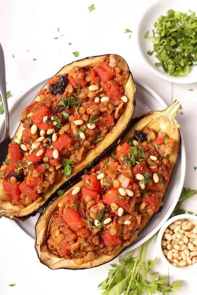 Two Moroccan Stuffed Eggplant on white plate