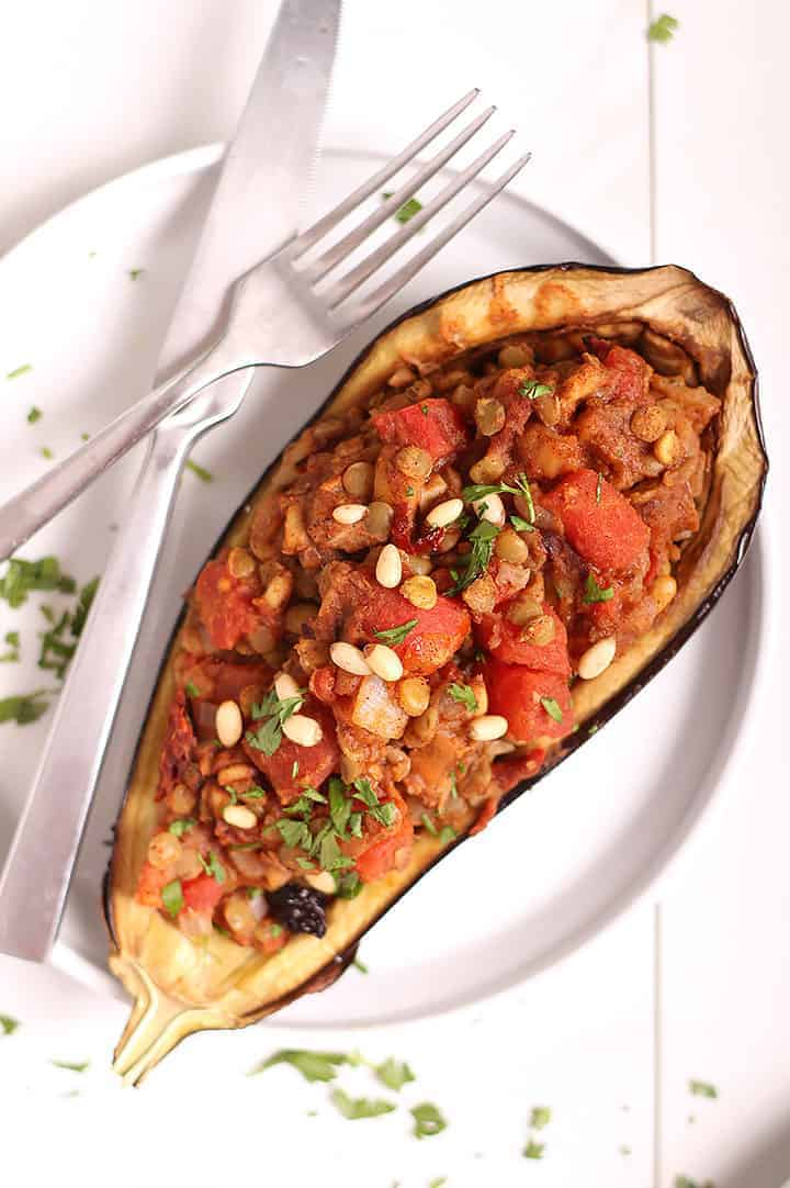 Moroccan Stuffed Eggplant on white plate