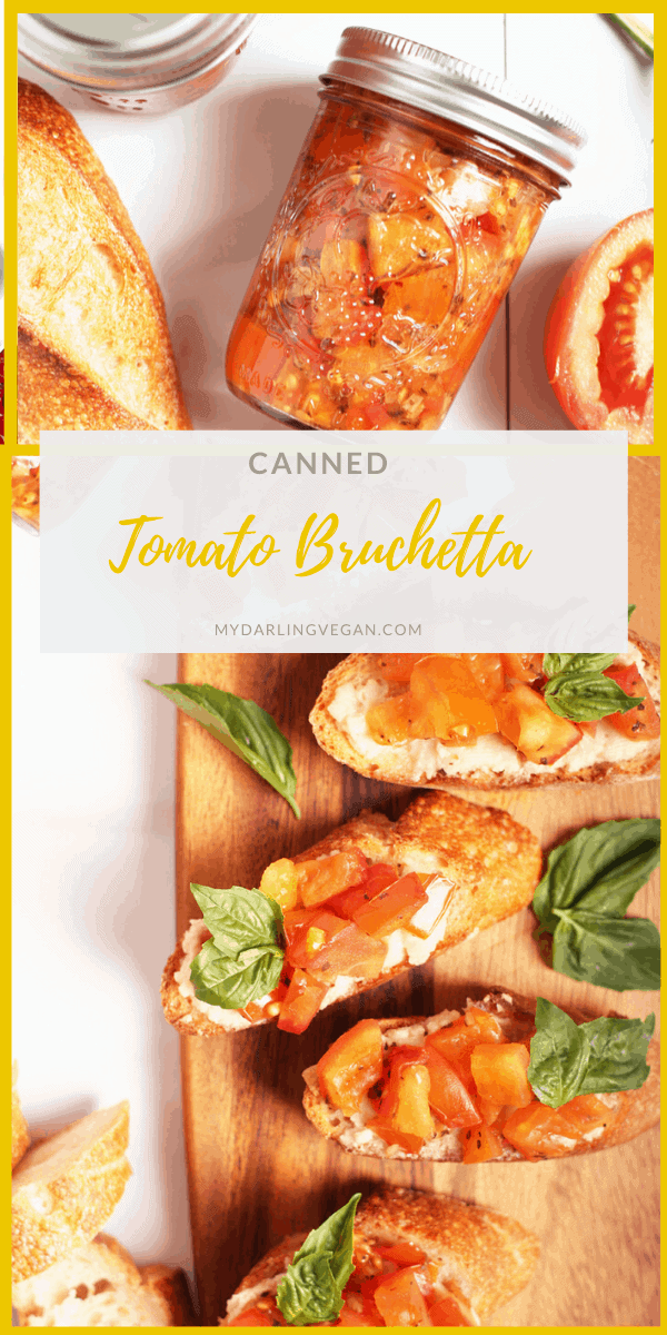 Tomato bruschetta in a jar! Served over soft vegan mozzarella cheese and a toasted baguette for a sweet and tangy baked appetizer. Make it in a jar for the perfect spread, filling, or homemade gift.