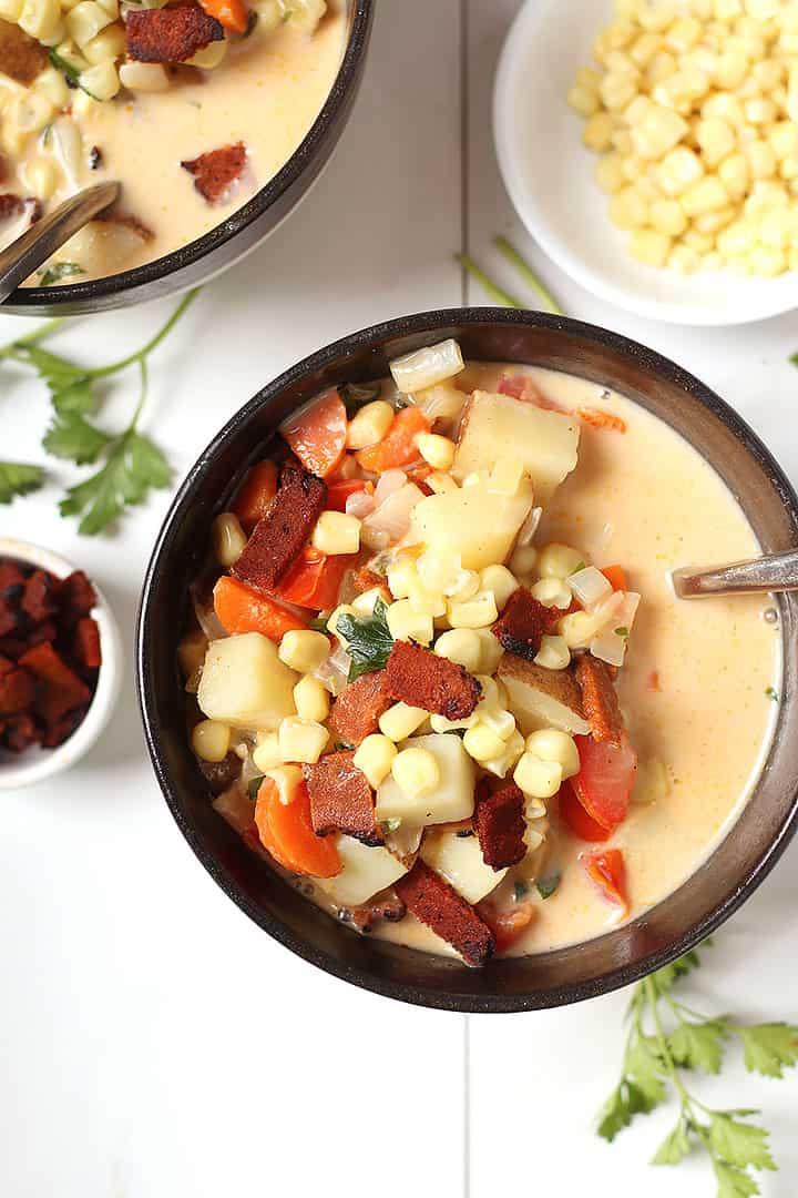 Vegan Corn Chowder in black bowl