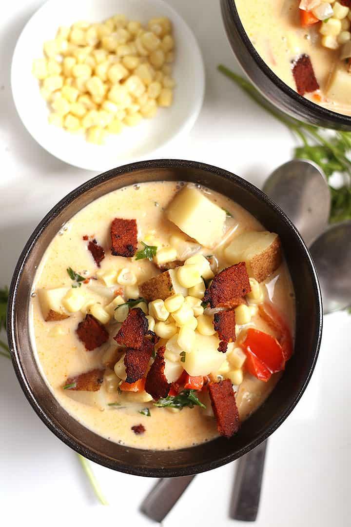 Bowl of vegan corn chowder