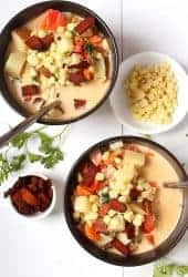 Two bowls of vegan corn chowder