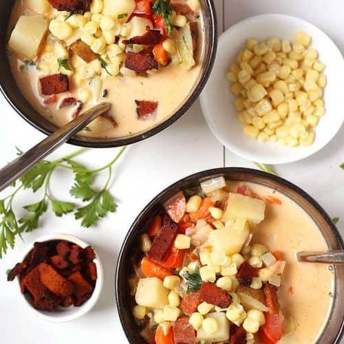 Two bowls of vegan corn chowder