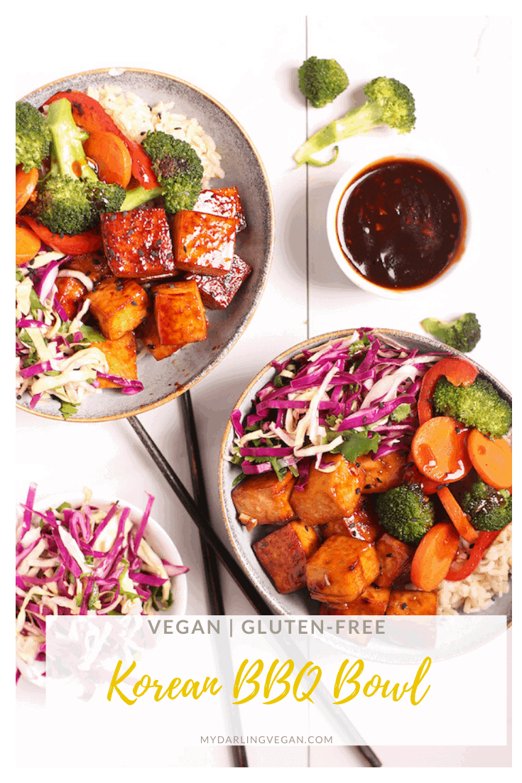 A delicious Korean BBQ bowl filled with cabbage slaw, spicy pan-fried tofu, and sautéed broccoli and carrots, this weeknight meal is hearty and delicious. Vegan and Gluten-free!