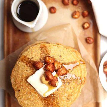 Vegan Cornmeal Pancakes with hazelnuts