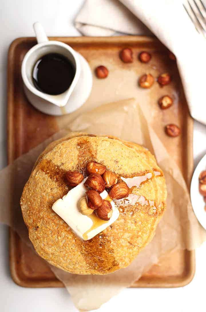 Vegan Cornmeal Pancakes with hazelnuts