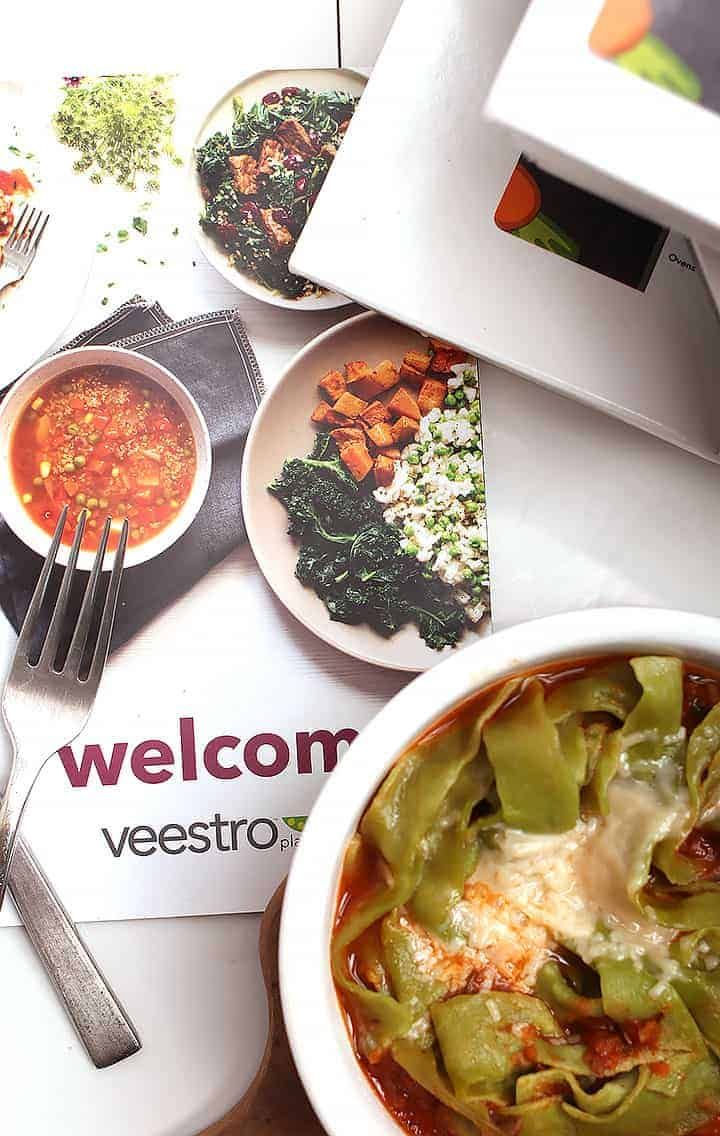 Veestro menu next to finished meal