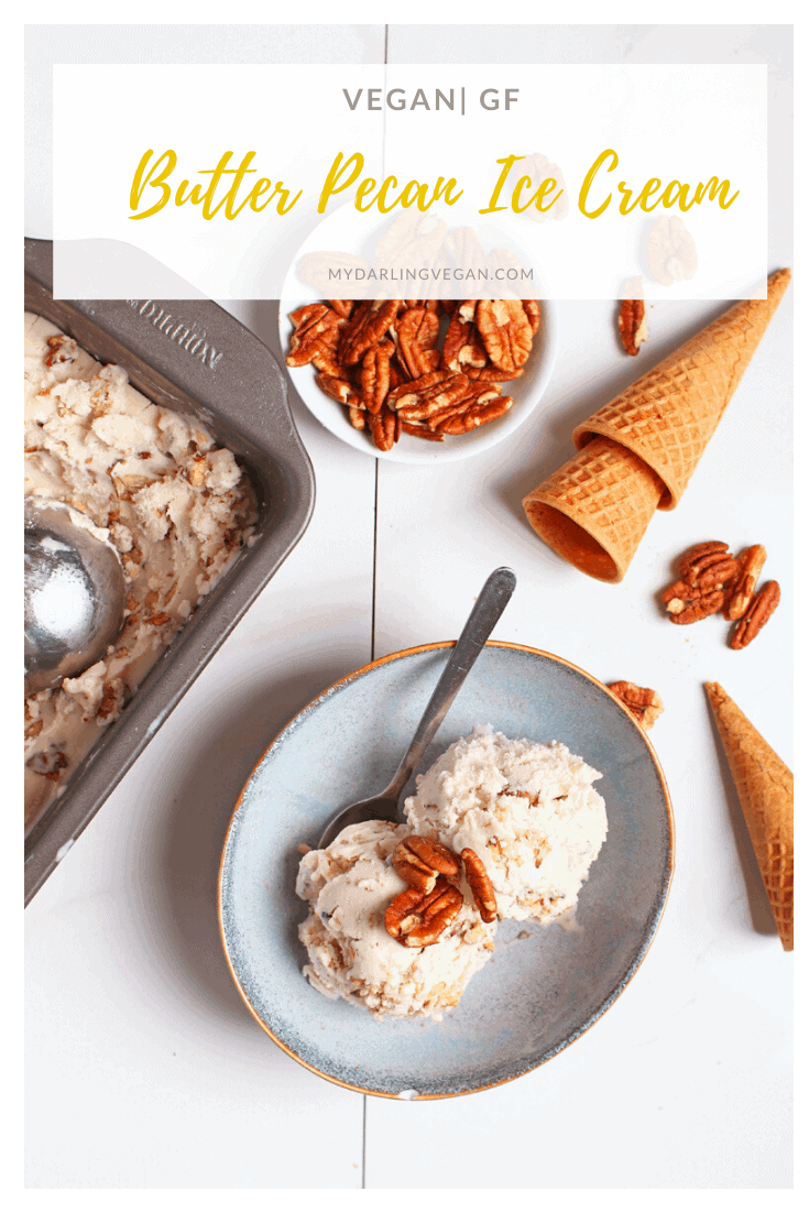 A rich and creamy vegan butter pecan ice cream made with a frozen coconut base and filled with buttered pecans for a healthier spin on a classic favorite. Made with just 6 ingredients!