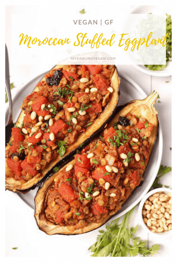 These Moroccan Stuffed Eggplant are bursting with flavor! Filled with lentils, tomatoes, and the perfect blend of spices, this is a vegan and gluten-free meal that elevates dinner to a whole new level.
