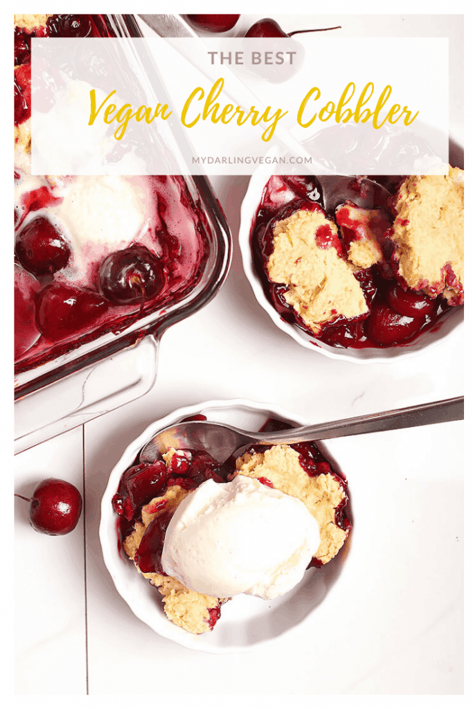 You're going to love this vegan cherry cobbler. It's a sweet and tart cherry pie filling topped with buttery biscuits and baked to perfection. Serve with non-dairy vanilla ice cream for the perfect summer dessert.
