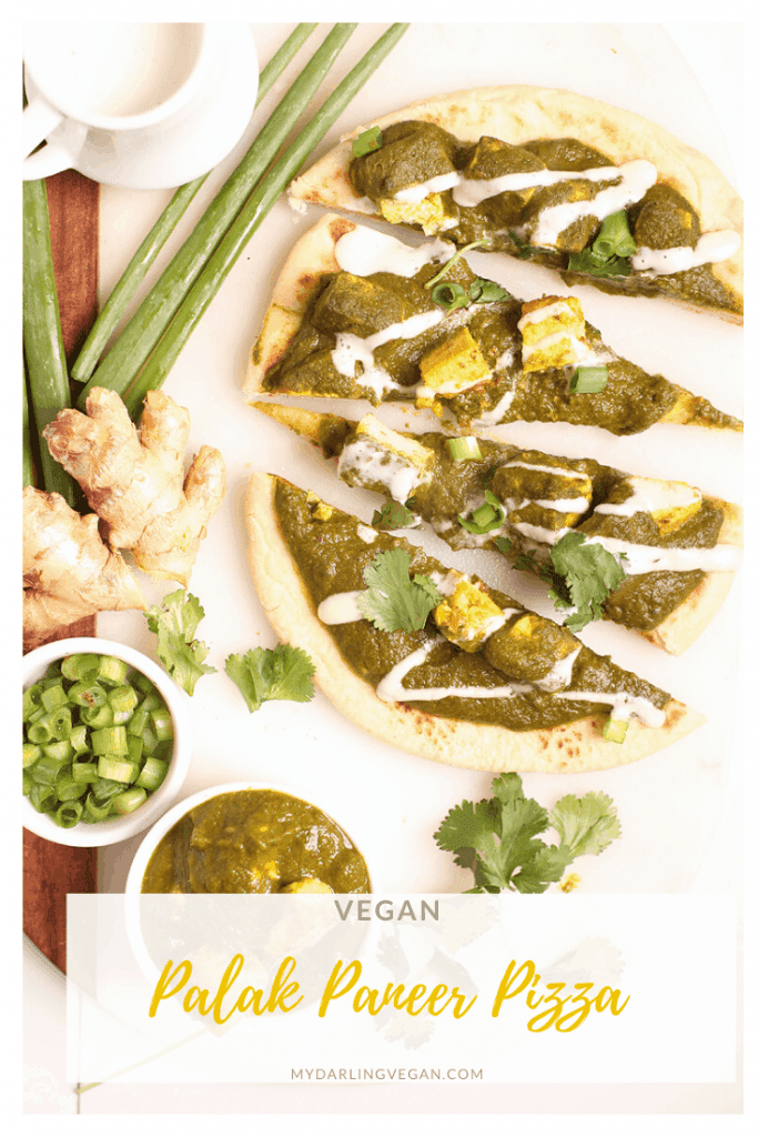 """A culinary fusion! Made with curried tofu """"cheese"""" and Indian-spiced spinach gravy, these individual vegan palak paneer pizzas are served over toasted naan for a quick and easy weeknight meal."""