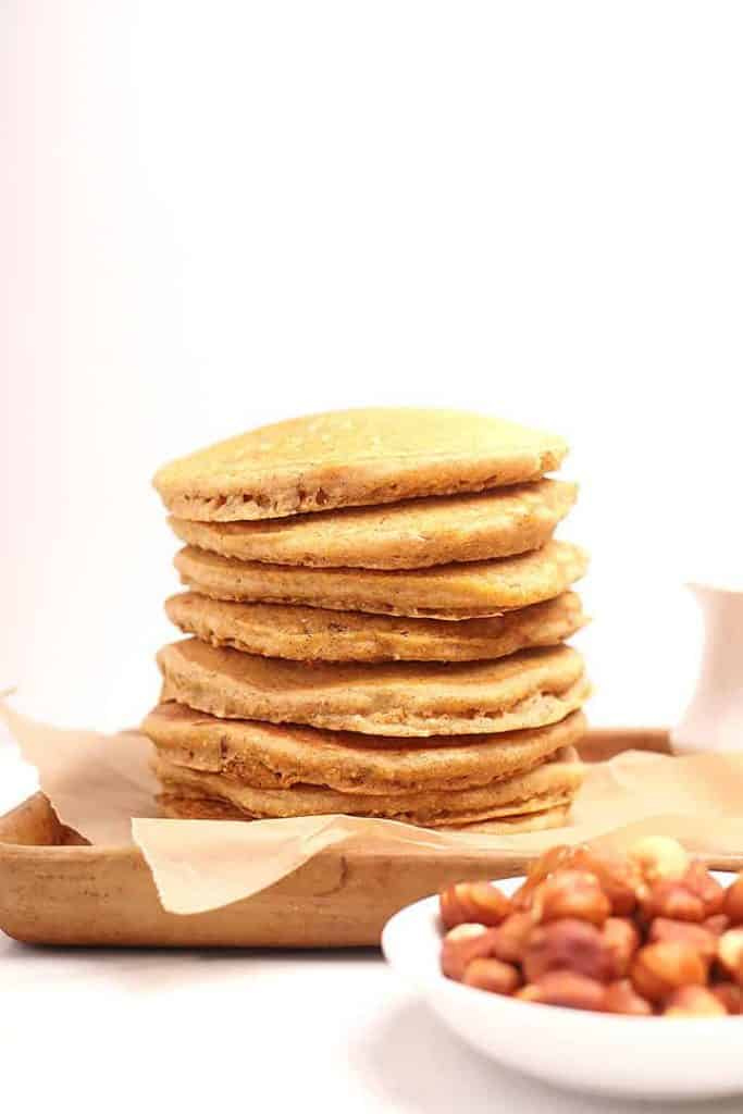 Stack of Hazelnut Cornmeal Pancakes
