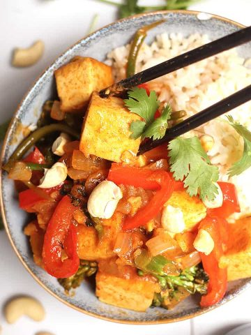 Coconut curry with tofu over rice