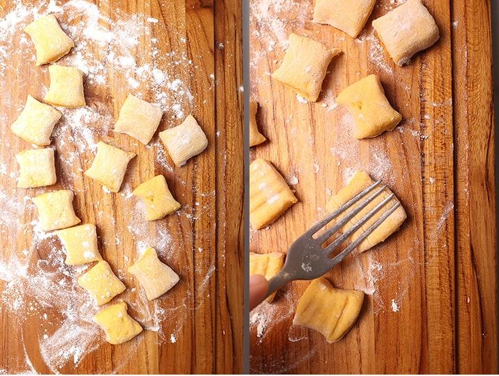 Pumpkin gnocchi on cutting board