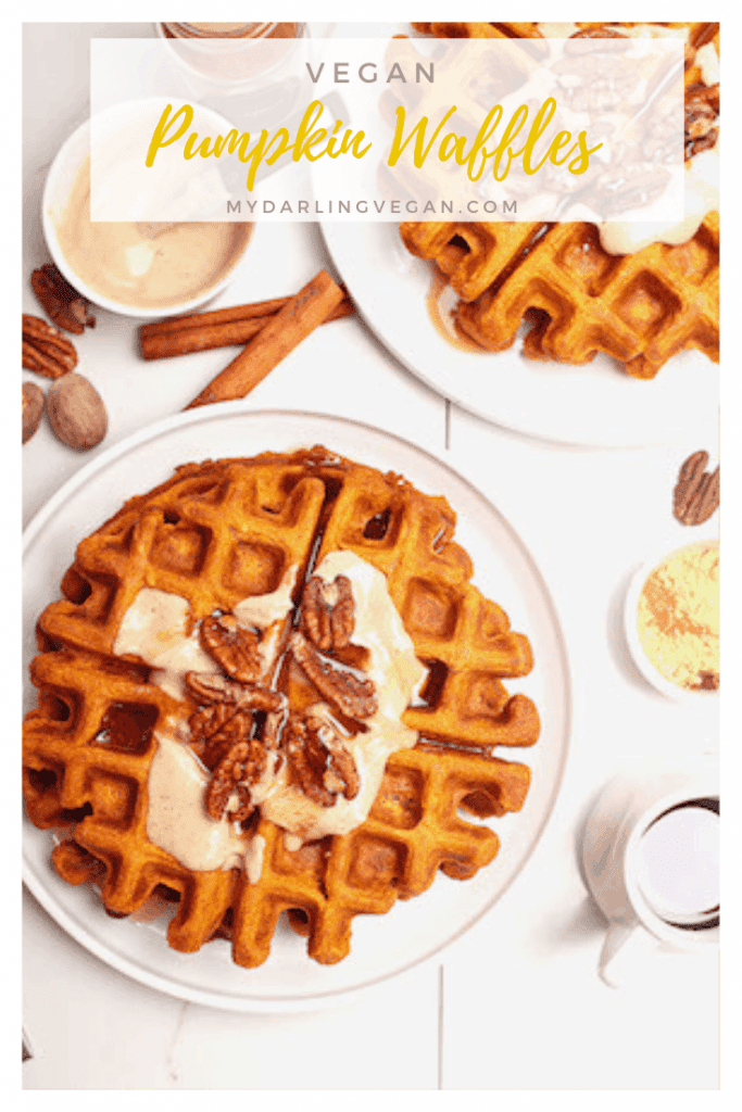 Wake up to these vegan Pumpkin Waffles with Maple Cashew Cream. Spiced to perfection and slathered in sweet, creamy, custard, these vegan waffles are the perfect autumnal breakfast for the whole family.