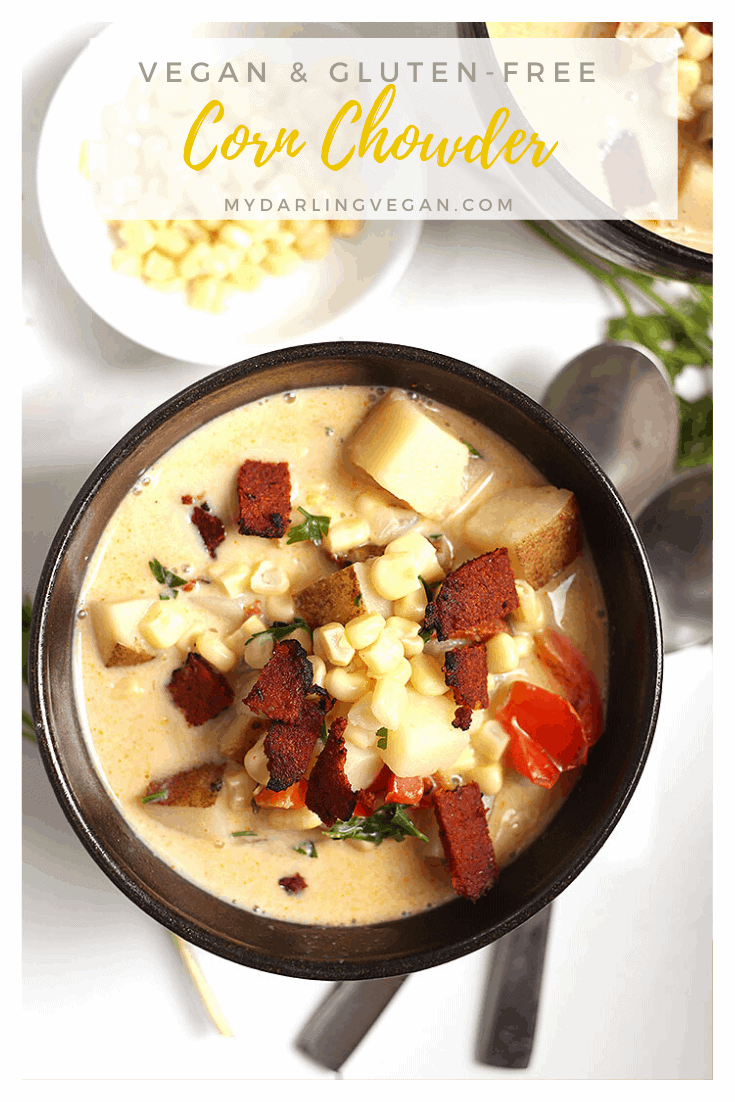 This vegan corn chowder is so rich and creamy, no one will believe it's non-dairy! Filled with late summer vegetables and fresh herbs for a warm and hearty soup to enjoy at the tail end of summer. Made in 30 minutes!