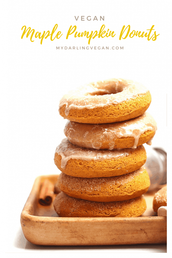 Fall into fall with these delicious vegan pumpkin donuts. Sweetened with maple syrup and topped with cinnamon-spiced glaze, these vegan pastries are the perfect fall sweet treat!
