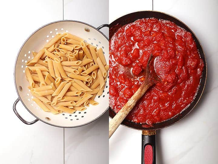 Penne pasta and tomato sauce