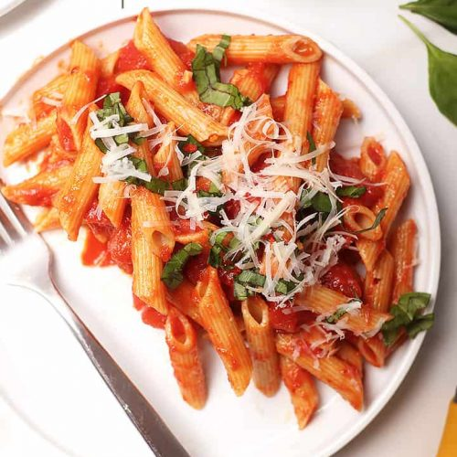 Pasta all'Arrabiata on a white plate