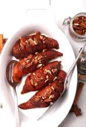 Hasselback sweet potatoes in casserole dish