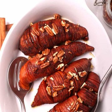 Sweet Potatoes with pecans in casserole dish