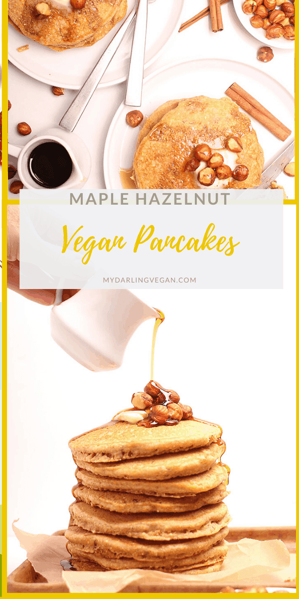You're going to LOVE these delicious Maple Hazelnut Cornmeal Pancakes. Slightly sweet and filled with a hearty nutty flavor, this is the perfect autumn breakfast. Top with fresh maple syrup and hazelnuts.