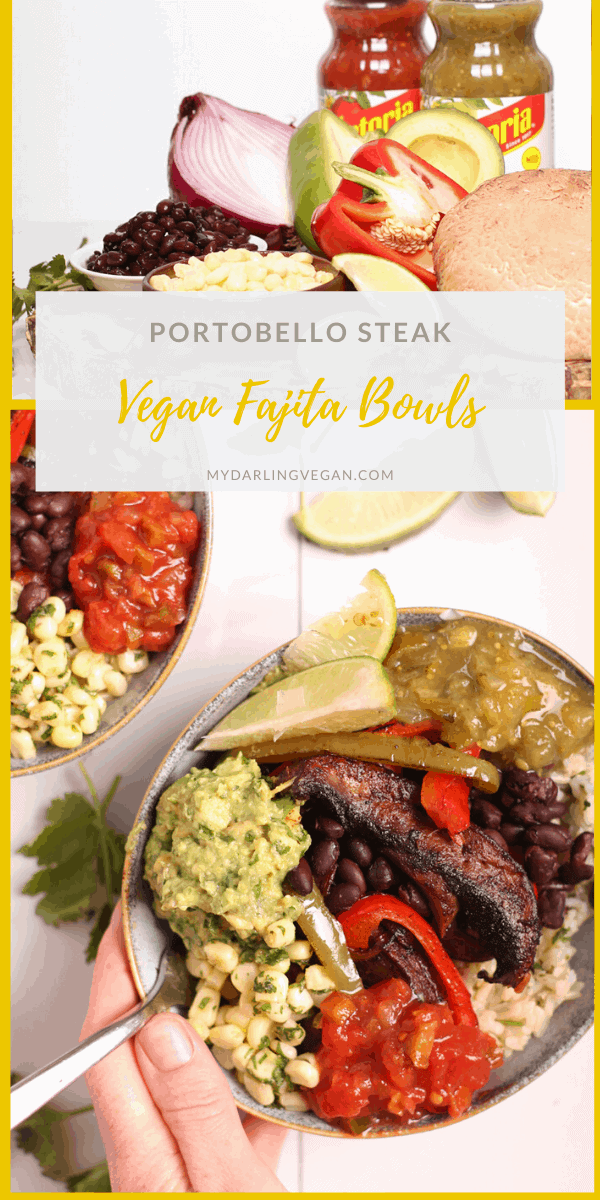 Amazing vegan fajitas made with portobello steak, cilantro-lime rice, and sautéed onions and peppers. Filled with delicious fresh flavors and topped with LA VICTORIA® Salsa Thick'n Chunky Medium and Salsa Verde for a wholesome vegan and gluten-free meal.