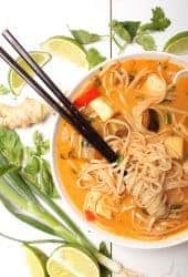 Thai Noodle Soup with chopsticks