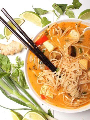 Thai Noodle Soup with chopsticks