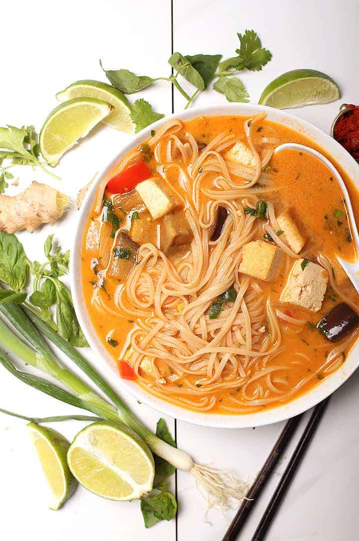 Thai Noodle Soup in white bowl
