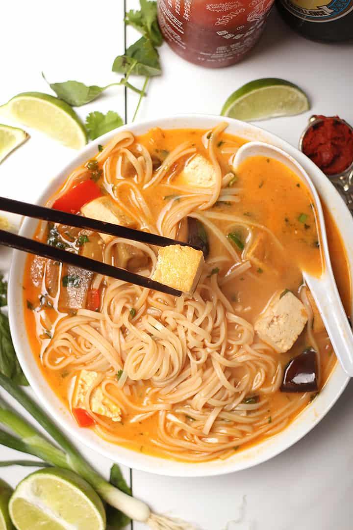 Thai Noodle Soup in white bowl
