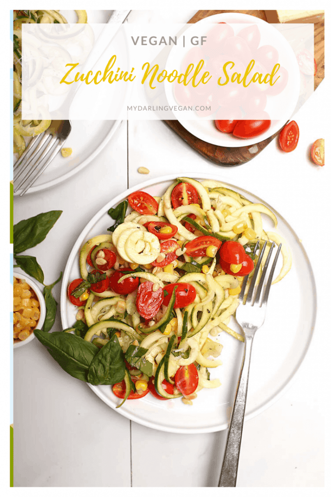 Light and refreshing, you've going to love this zucchini noodle salad. Made with fresh zucchini noodles, tomatoes, corn, basil, and pinenuts for the perfect light vegan and gluten-free summer meal.