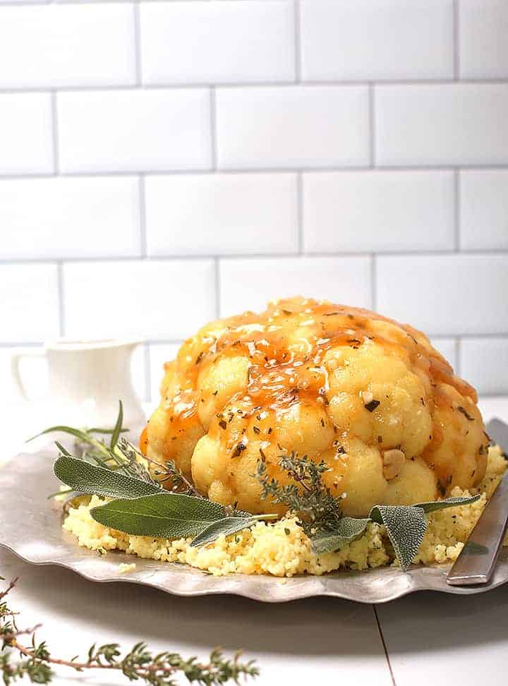Whole Roasted Cauliflower with gravy