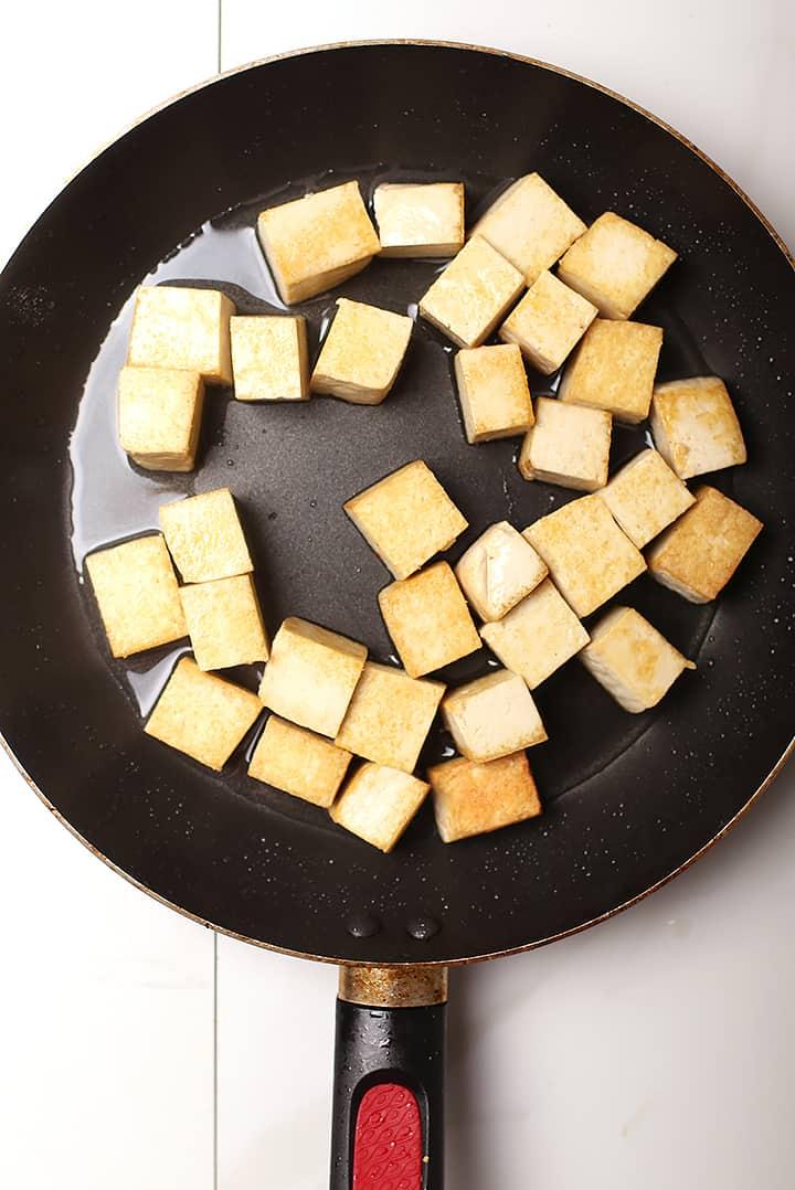 Pan-Fried Tofu in Sauté pan