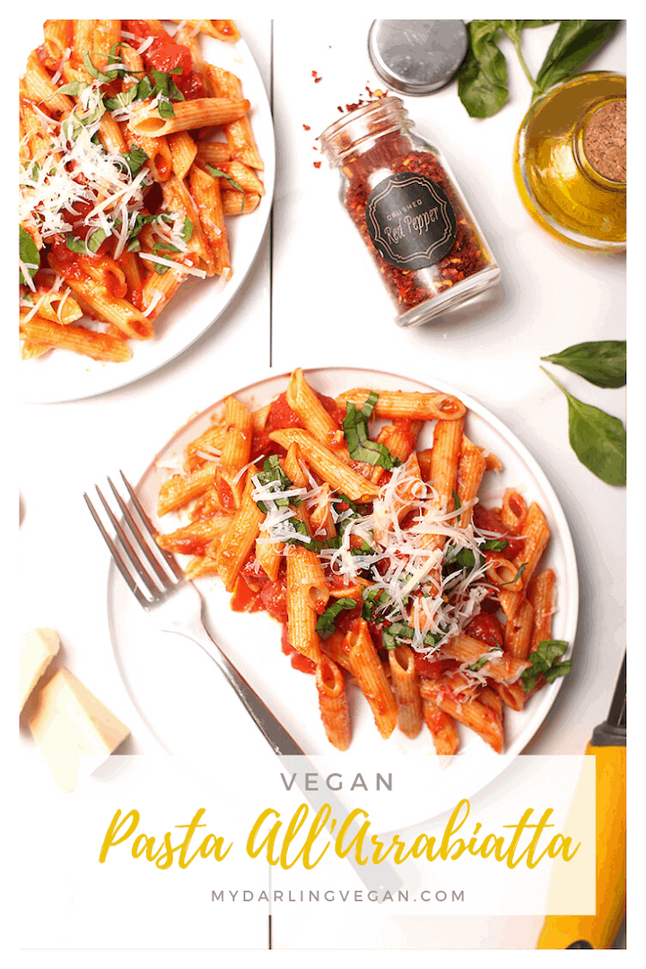 Enjoy the sweet and spicy flavors of this vegan Pasta all'Arrabiata with roasted garlic, diced tomatoes, and red pepper flakes. Topped with fresh basil and vegan parmesan cheese, this classic pasta dish is the perfect 30-minute weeknight meal.