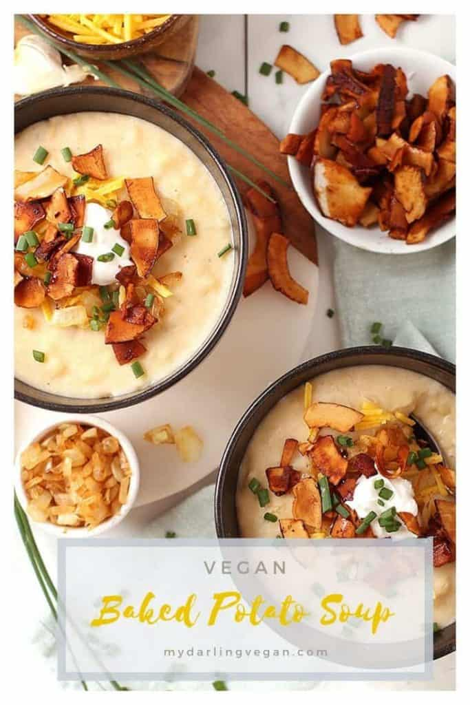 ou're going to love this fully loaded vegan Baked Potato Soup. It's a rich and creamy potato soup topped with coconut bacon, vegan cream cheese, caramelized onions, and fresh chives. It doesn't get much cozier than that!
