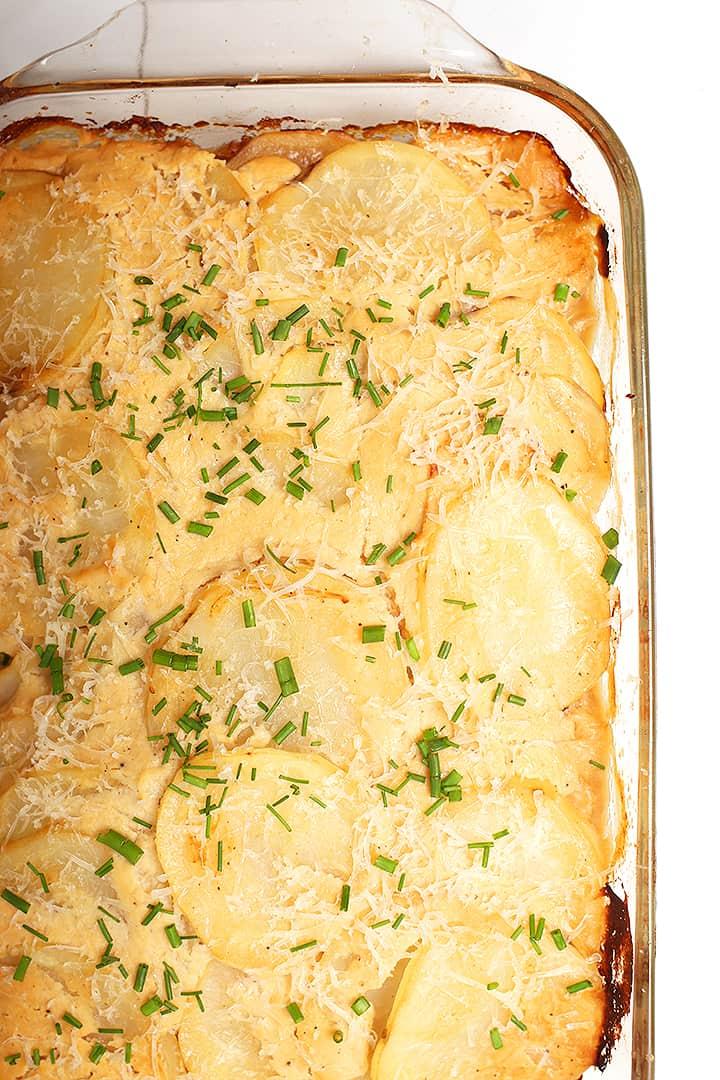 Vegan Scalloped Potatoes in casserole dish