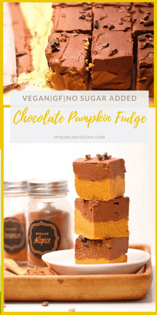 Delicious pumpkin fudge! A double layer of fudge made with whole food ingredients and sweetened only with dates for a festive vegan, gluten-free, and refined sugar-free treat.