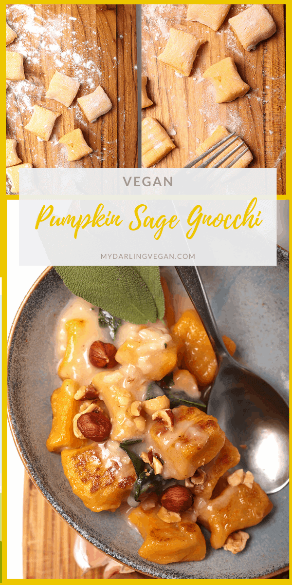 A deliciously autumnal meal, this vegan pumpkin gnocchi is unbelievable! Pillowy pumpkin pasta covered in rich and creamy sage garlic sauce for the perfect cozy meal. Vegan and soy-free!