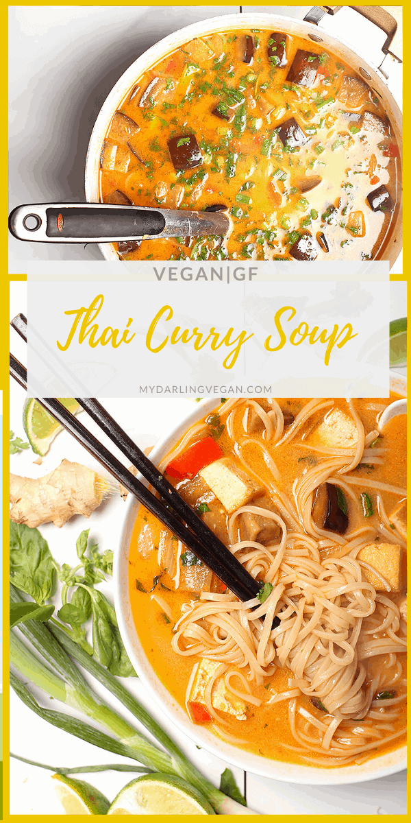 You're going to love this rich and creamy Thai Noodle Soup with tofu and eggplant. A hearty and delicious Thai soup for the perfect vegan and gluten-free meal. Made in just 30 minutes!
