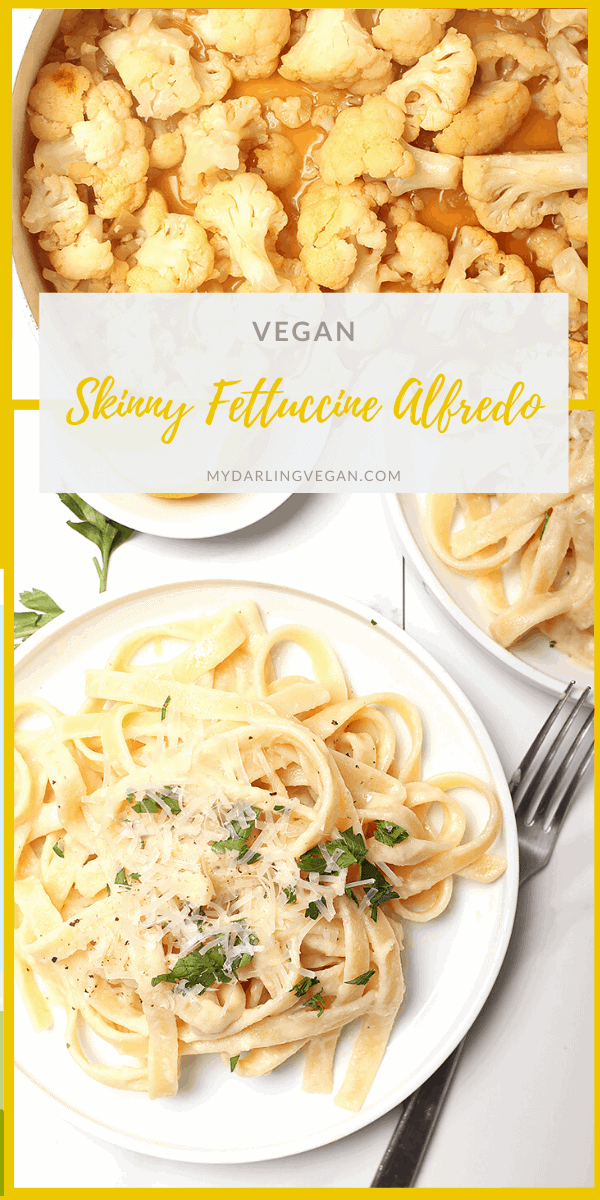 Creamy and decadent, this vegan Fettuccine Alfredo has a secret healthy ingredient that makes it a meal the whole family will love. Made in just 30 minutes for a quick, delicious, and surprisingly veggie-packed dinner.