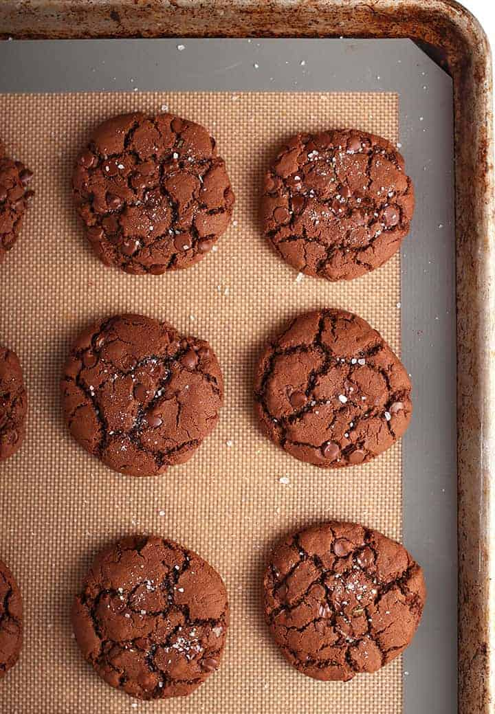 Chocolate Rosemary Cookies on baking sheet