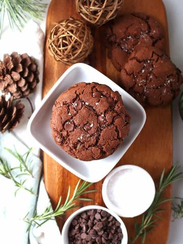Salted Chocolate cookies on wooden board.