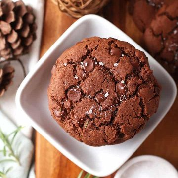 Salted Chocolate Rosemary Cookie on wooden board