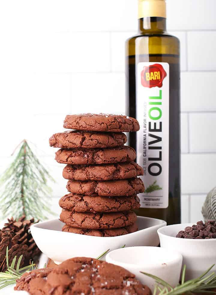 Stack of Chocolate Rosemary Cookies